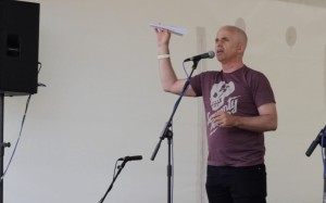 Andy Szpuk, launching Poetry Airlines (photo by Keith Turner)